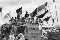 Protesting the 150th anniversary of the Treaty of Waitangi