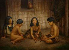Māori children playing ruru