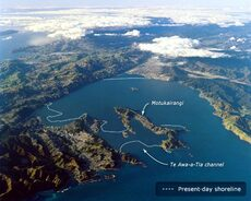 Wellington harbour before the Haowhenua earthquake