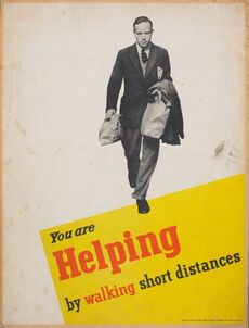 Poster, 'You are helping by walking short distances'