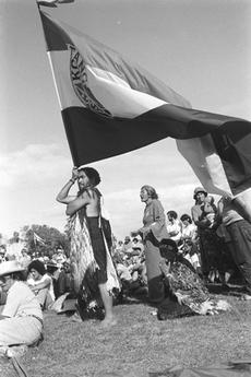 Demonstrators with Te Kotahitanga flag. Te Hikoi ki Waitangi