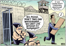 """""""No, please, don't take our waterboard... We can't live without it!! Noooo!!!"""" """"I see Obama hasn't completely abandoned torture..."""" 24 January 2009."""