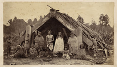 Māori group in front of a Masterton meeting house
