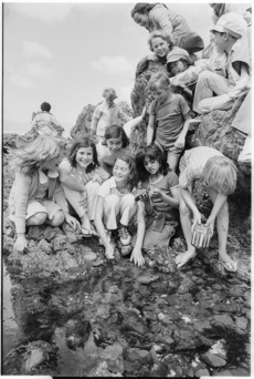 School pupils at the beach