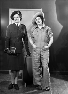 Unidentified models wearing Women's Land Service uniforms