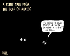 "A fishy tale from the Gulf of Mexico - ""It's either a solar eclipse or we're swimming in a giant oil spill."" 3 May 2010"