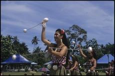 Maori women performing the poi at Lepea village, at the 7th Festival of Pacific Arts, Apia, Samoa