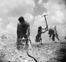 World War 2 New Zealand Engineers digging graves south of Florence, Italy - Photograph taken by K G Killoh