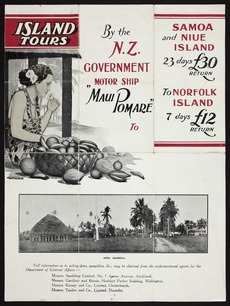 """Island tours by the N.Z. Government motor ship """"Māui Pomare"""" to Samoa and Niue Island."""