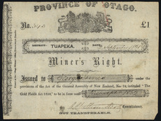 Certificate of miner's right to mine Tuapeka goldfield