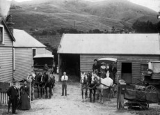 Horse drawn bus, leaving Karori for Wellington