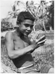 Husking a coconut