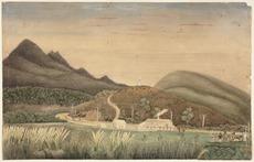 Liardet, Wilbraham Frederick Evelyn 1799-1878 :[Scene of the Wairau Massacre at Tuamarina, Blenheim. 1866?]