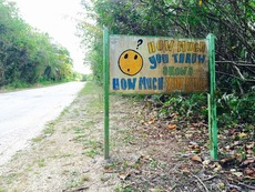 Photographs of roadside signs in Niue