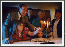 Lighting candles for the Jewish Hanukkah festival