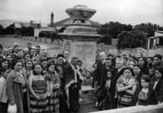 Group of mourners at the grave of Honiana Te Puni, Petone, Wellington