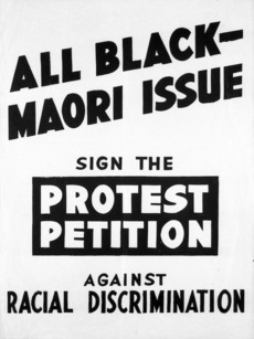 New Zealand Citizens All Black Tour Association :All Black - Maori issue; sign the protest petition against racial discrimination. [1959]