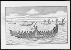 [Gibb, William Menzies] 1859-1931 :Te Rauparaha's fleet approaching Kaiapoi. [1829. Drawn in 1892 and redrawn in 1940]