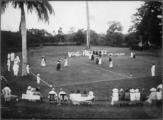 Basketball game at a garden party at the Governor's residence, Vailima