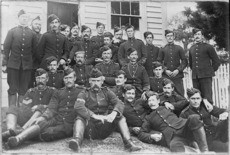 Group of militia at Rawene, Hokianga, during the Dog Tax Rebellion