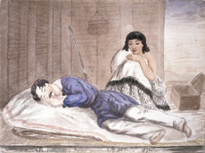 D. S. fl 1840s-1850s :[Soldier asleep in a whare, being watched over by a Maori woman. Between 1845 and 1858]