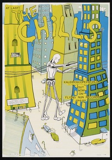 """Phillipps, Martin, fl 1986 :At last! The Chills. """"Kaleidoscope world"""", the singles compilation album, out now on Flying Nun Records. COLD 005 / M Phillipps. 20.7.[19]86."""