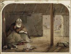 Barraud, Charles Decimus, 1822-1897 :[Te Puni seated in a whare in Pito-one Pa] N. Z. 1860