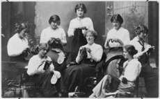 Women knitting socks for soldiers