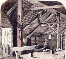 Artist unknown :[Album of an officer. Enjoying a pipe and a book, South Taranaki or Wanganui? Nov. 15 [18]65