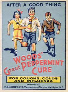 Woods' great peppermint cure, for coughs, colds and influenza [1940s?].