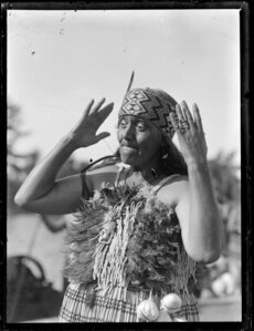 Maori woman performing an action song
