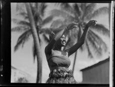 Unidentified young woman dancing, Ba, Fiji