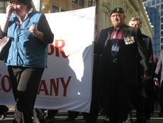 Photographs of Vietnam War veterans marching to Parliament, Wellington
