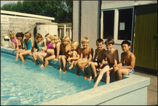 Children at a swimming pool