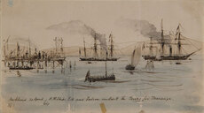 Auckland. 20 April, H.M. Ships Esk and Falcon embark the troops for Tauranga.