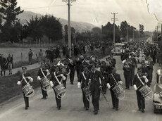 Military Service, World War II; band; in Main Road South, near Trentham?