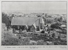 AN HISTORICAL CHURCH: A VIEW OF ST. MARY'S, NEW PLYMOUTH, TARANAKI, WHICH WAS USED AS A PLACE OF REFUGE DURING THE MAORI WAR.