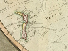 Map showing Cook's voyage