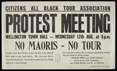 'No Maoris - No Tour' poster, 1959