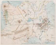 Map showing Tītokowaru's southern Taranaki campaigns