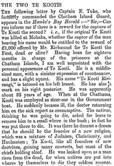 Te Kooti on Chatham Island