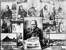 Montage of photographs depicting Maori people and scenes by Josiah Martin