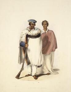 Hone Wiremu Heke Pokai (left) and Eruera Maihi Patuone by George French Angas