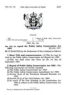 Public Safety Conservation Act