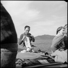 Seaside knitting, 1945