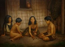 Māori children playing ruru