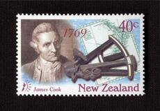 Captain Cook with a sextant