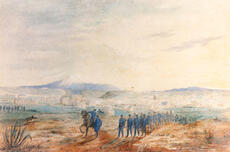 """""""Volunteer Rifles going on duty, New Plymouth, 1860"""""""