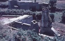 Burnt remains of Te Raukura meeting house, Parihaka