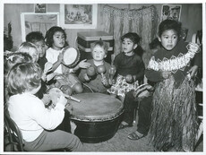 At the Logen Campbell Kindergarten in Auckland, the teacher leads her class in a music lesson